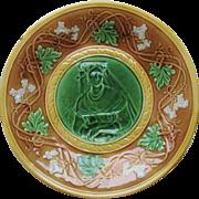 Majolica Plate PRE-1890 England Portrait Medallion