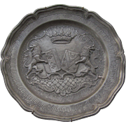1800's Pewter Charger  France  Coat of Arms