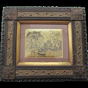 1870-80 Frame Wood Gold Gilt Gesso Medallions FANTASTIC