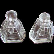 PAIR Cut Glass Perfume Cologne Scent Bottle VINTAGE