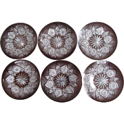 Set-6 HAWKES Cut Glass Plate / Dish c.1890's Marquis Pattern