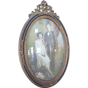 85+ yrs Wood Frame Oval Gesso Convex Glass LOVELY Tinted Wedding Photo