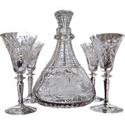 ABP Cut Glass Decanter and Four Cordial Sherry DECANTER SET