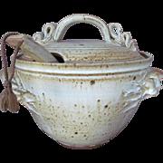 Stoneware Soup Tureen Wheel Thrown Pottery c.1973 Functional