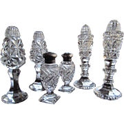SET- 3 PAIRS  Salt and Pepper Shakers Cut Glass Crystal  c.1910