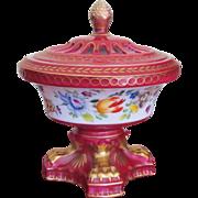 ENGLAND 19th C. Porcelain  Covered Bowl  Pedestal Foot  Gold