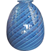 Art Glass Vase  Cased Glass  Blown Blue Swirl  c.1980's