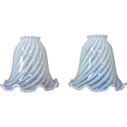 PAIR Lamp Shade Vaseline Opalescent Spiral Swirl Stripes