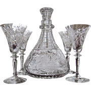 c. 1910 Cut Glass Decanter and Four Cordial Sherry DECANTER SET