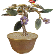 RARE Gold Plated 1950's  Jade Tree  Bonsai Tree SWOBODA Amethyst