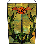 "VINTAGE Stained Glass Window Panel  16"" x  11""  c.1960's"