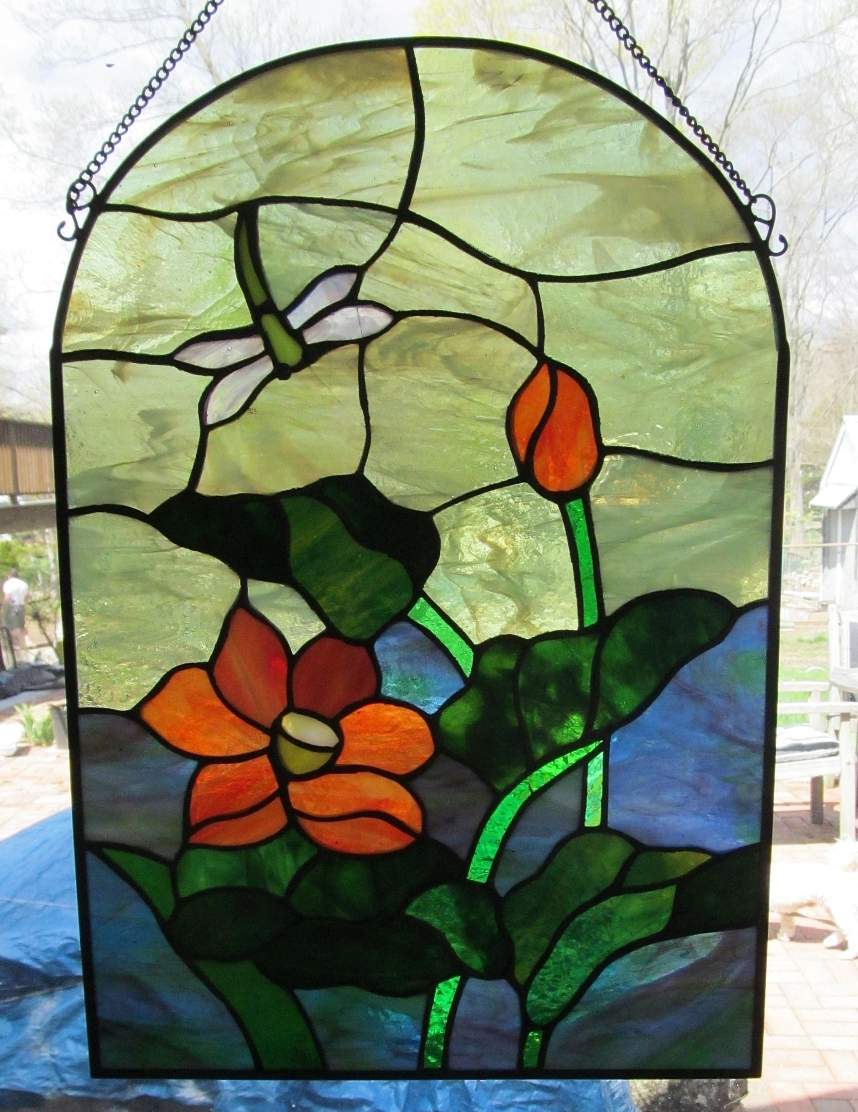 Vintage stained glass window panel 15 x 11 from for 15 panel beveled glass door