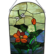 "VINTAGE Stained Glass Window Panel 15"" x  11"" c.1960's"