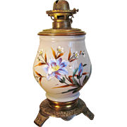 Hand Painted 1880's VICTORIAN Oil Lamp Enameled Plume & Atwood