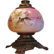 Victorian Oil Lamp 1860-80 Hand Painted Porcelain EXQUISITE
