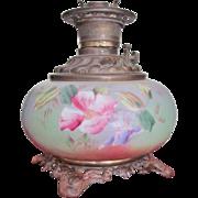 Victorian Oil Lamp 1860-80 Circular Burner LARGE Hand Painted Porcelain Gorgeous