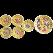 VINTAGE France Sarreguemines Majolica Platter Plate Set