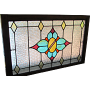 c.1910 Stained Glass Window Leaded Glass  Oak Frame