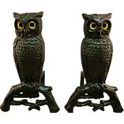 C.1920 Rostand Andirons Owl AUTHENTIC Signed Cast Iron  Glass Eyes