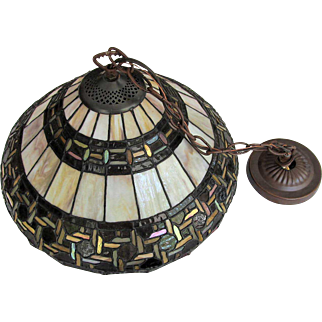 Slag Leaded Glass Lamp Shade 500 PIECES Hanging Lamp Vintage