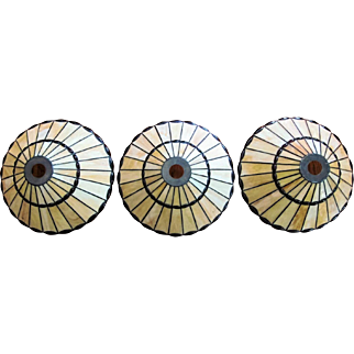 THREE Slag Leaded Stained Glass Lamp Shade  Mission Style 96 Panels Each