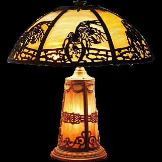 c.1910-20 Slag Glass Lamp Metal Overlay Lit Base ORNATE