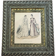 Civil War Era 1860-70 Frame Wood Gesso Godey Print Lithograph