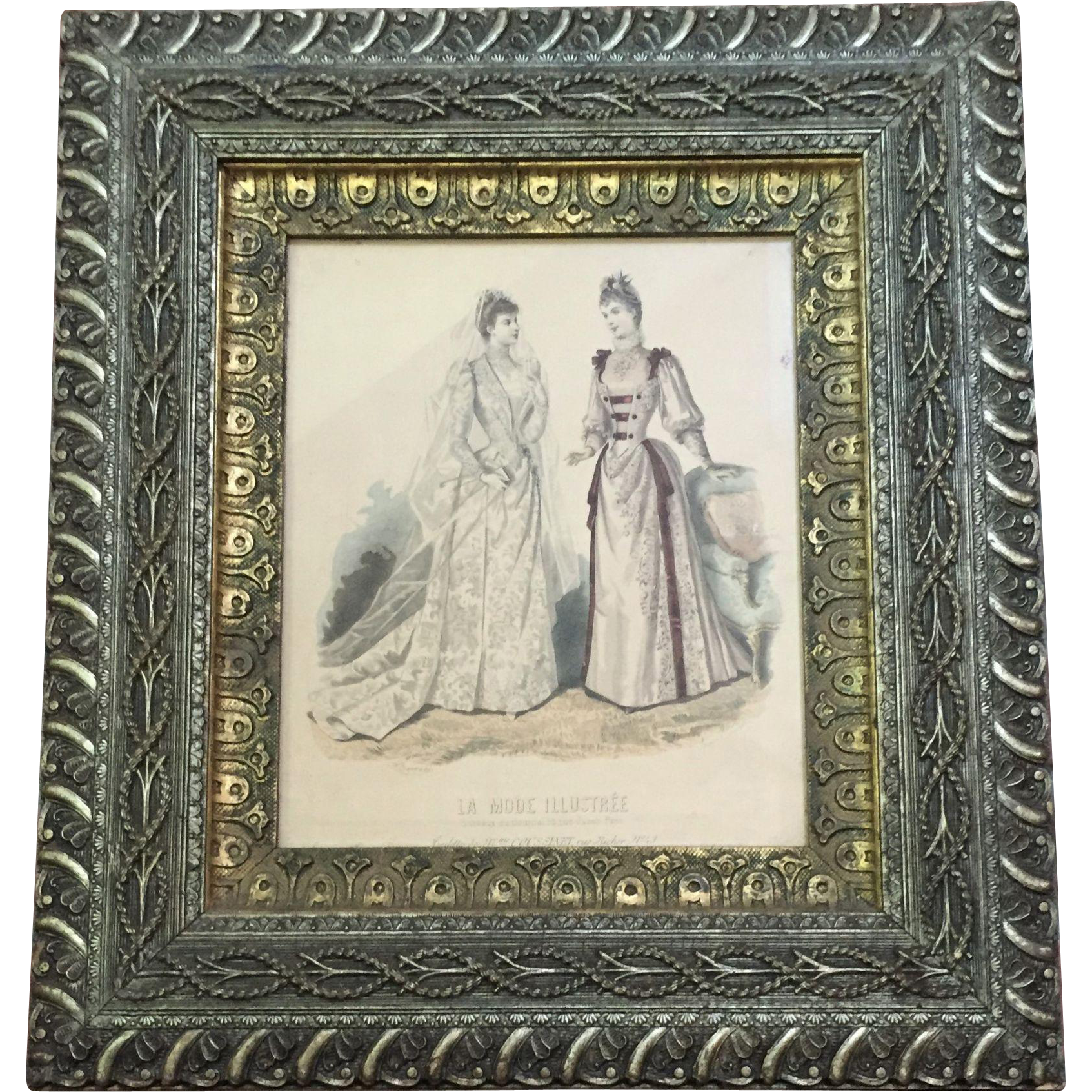 Civil War Era 1860 70 Frame Wood Gesso Godey Print