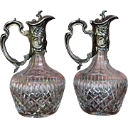 PAIR Anglo Irish Ewer Decanter Cut Glass  c.1900-1910