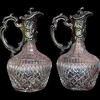 PAIR Anglo Irish Ewer Decanter Cut Glass  c.1900-1910