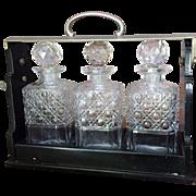 RARE Betjemann Tantalus c.1880 London Moser Decanter Cut Glass LOCK/KEY