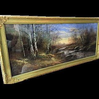 """1920's Pastel Landscape Wood Gesso Frame 37"""" Original"""