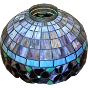 "22"" Victorian c.1880 Stained Glass Leaded Lamp Shade LARGE"