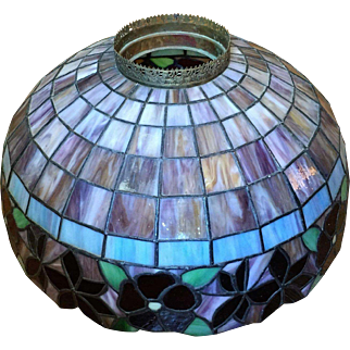 """22"""" Victorian c.1880 Stained Glass Leaded Lamp Shade LARGE"""