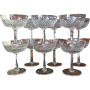 SIGNED Set-12 St. Louis Crystal Champagne Sherbet Vintage