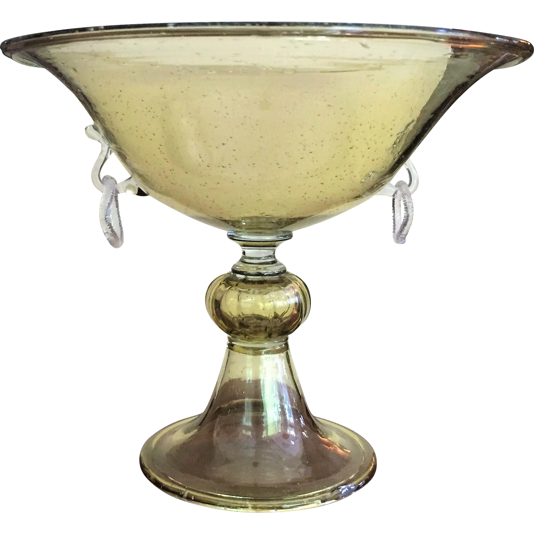 lg 11 x9 venetian glass murano compote centerpiece bowl two handles from glassloversgallery on. Black Bedroom Furniture Sets. Home Design Ideas