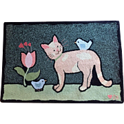 2' x 3' Wool Rug Susan Branch GOOD KITTY Vintage