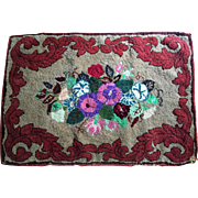 "36""x25"" Wool Rug C.1930's Floral Hand Hooked"