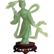 Chinese Jade Figurine Hand Carved Rosewood Stand