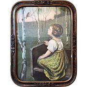 "17""x13"" Gesso Wood Frame SPRING SONG c.1930 Simon Glucklick Germany"