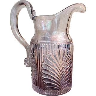 AUTHENTIC c.1863-75 Pressed Ribbed Palm Pitcher Large Flint