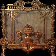 1840-60's French Brass Fireplace Screen Hoof Feet