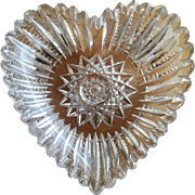 1890's Heart Dish Cut Glass Crystal Gift VALENTINE