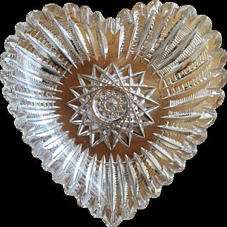 1890's Heart Dish Cut Glass Crystal Gift VALENTINE