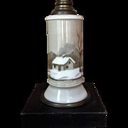 Sandwich Glass Annie Nye Kerosene Lamp 1880's Oil Lamp WINTER SCENE