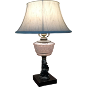 1880's Figural Oil Lamp Cast Metal  MAN and DOG  Kerosene Lamp