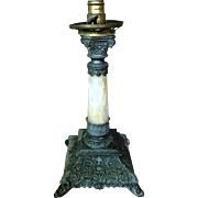 1890-1910 Marble Onyx Lamp Hard Carved Brass/Bronze