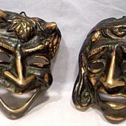 Art Deco Bronze Comedy & Tragedy Plaques / Masks