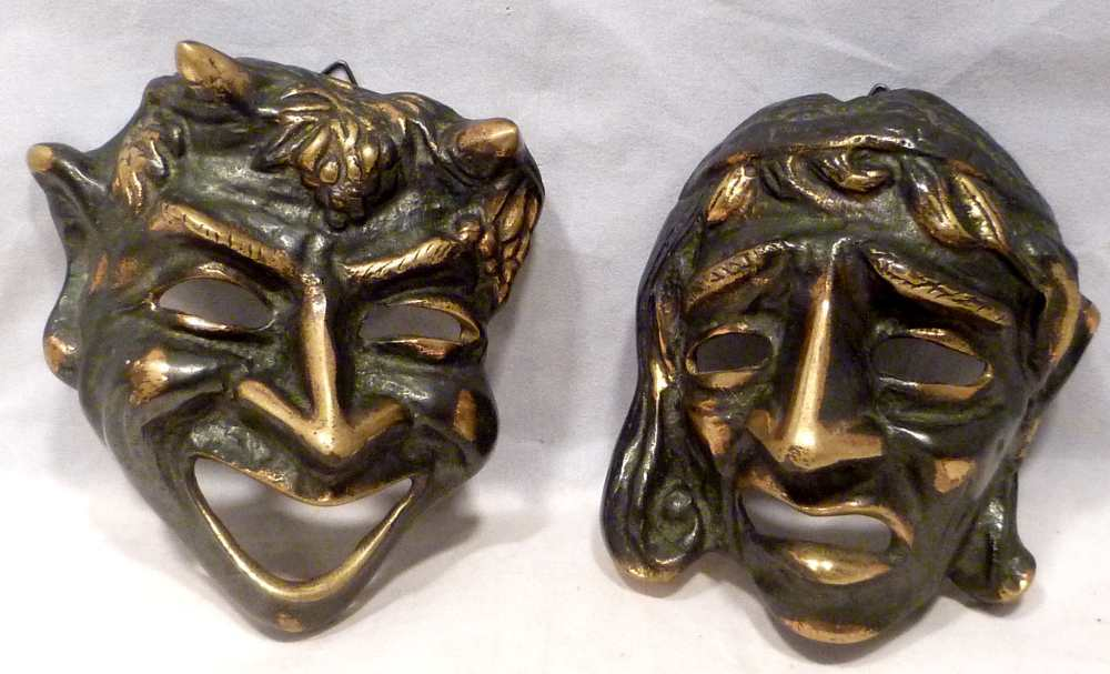 Art Deco Bronze Comedy & Tragedy Plaques / Masks