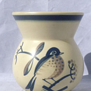 Aluminia Faience Denmark Art Deco Vase Handpainted Bird